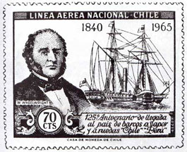 Retrato de Wheelwright en estampilla conmemorativa de la introducción del barco a vapor en Chile.